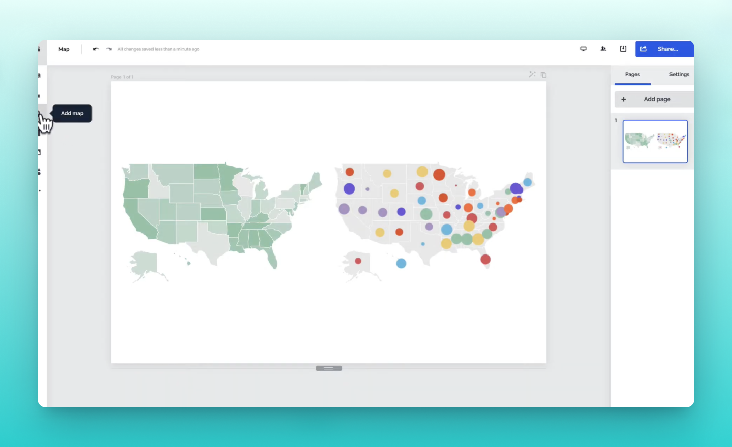 map types and styles available in Prezi Design
