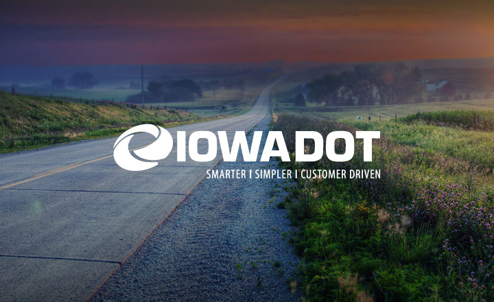 Image of road with Iowa DOT logo