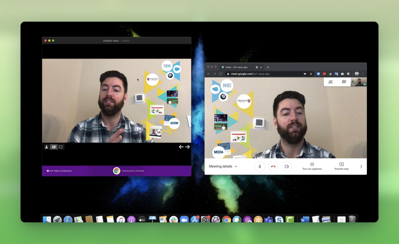 So verwenden Sie Prezi Video mit Google Meet auf Mac.