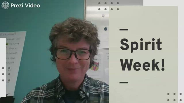 Principal Charlene Bredder has mastered the use of the pause button on Prezi Video to create this fun announcement related to the school's spirit week.