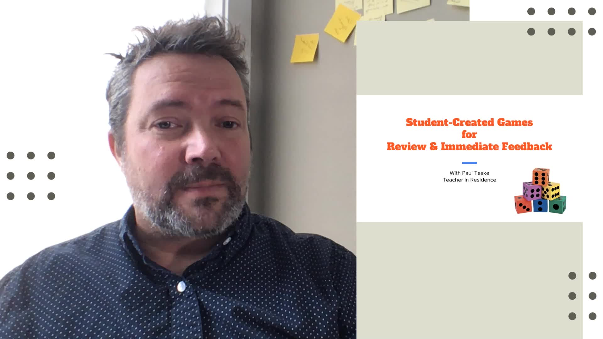 Paul Teske suggests ways for students to use Prezi's game show template to quiz each other in groups to help with conversations, assessments, and test review.