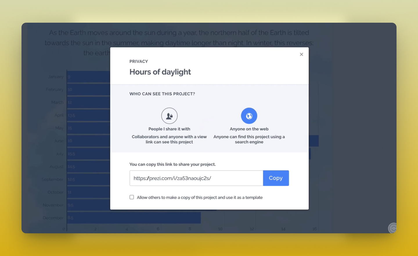 change privacy settings in Prezi Design