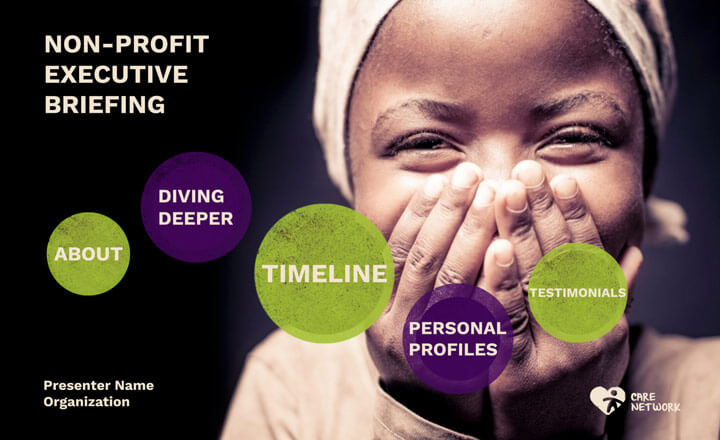 Non-profit Prezi presentation template overview featuring an image of a happy young girl. Theme colors are black, purple, and light green.