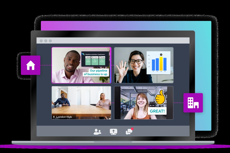 hybrid meeting with a virtual presentation and feedback
