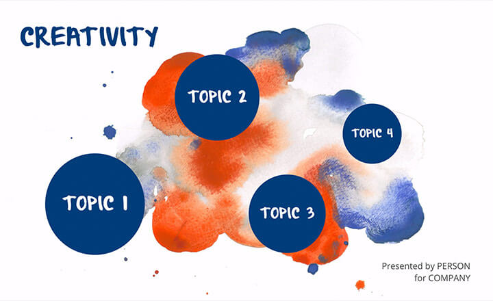 Prezi presentation template overview with artistic image of watercolor paints in deep blue and burnt orange.