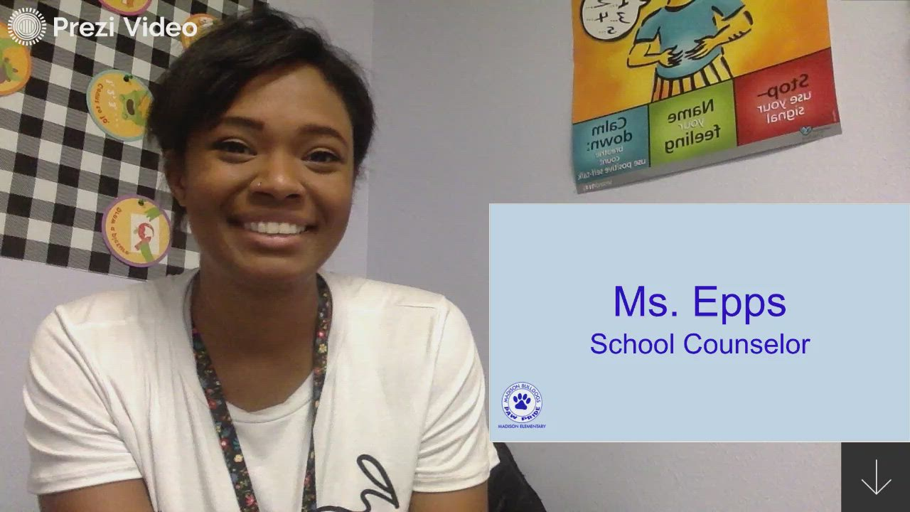 Counselor Jacqueline Epps introduces herself to her 4th and 5th grade students and explains how she is available to help.