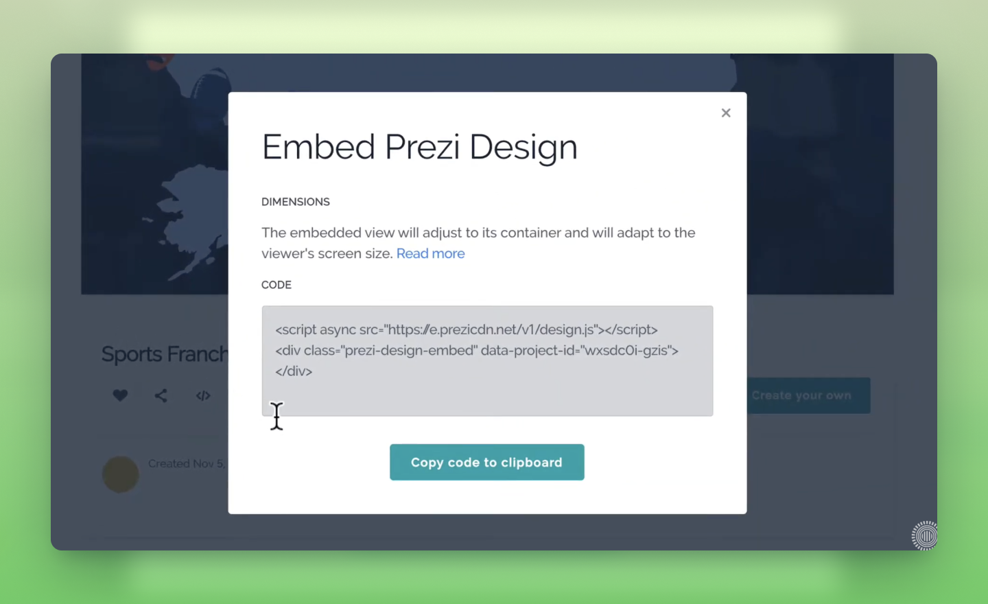 how to embed your Prezi Design content