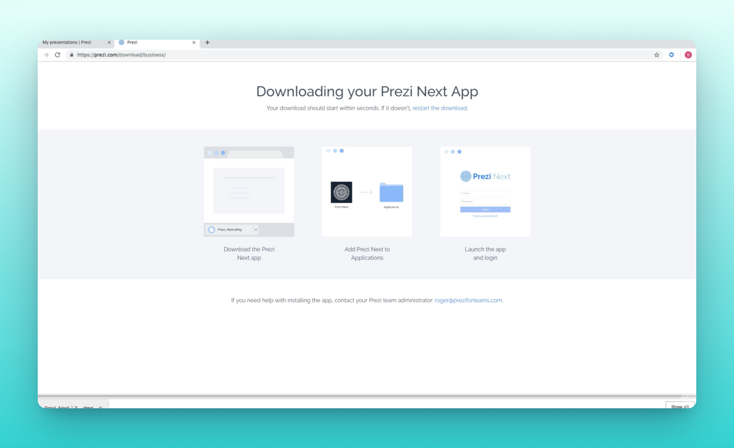 how to download and install the Prezi Present desktop app