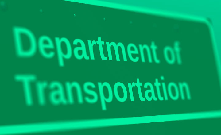 "Green image of ""Department of Transportation"" sign"
