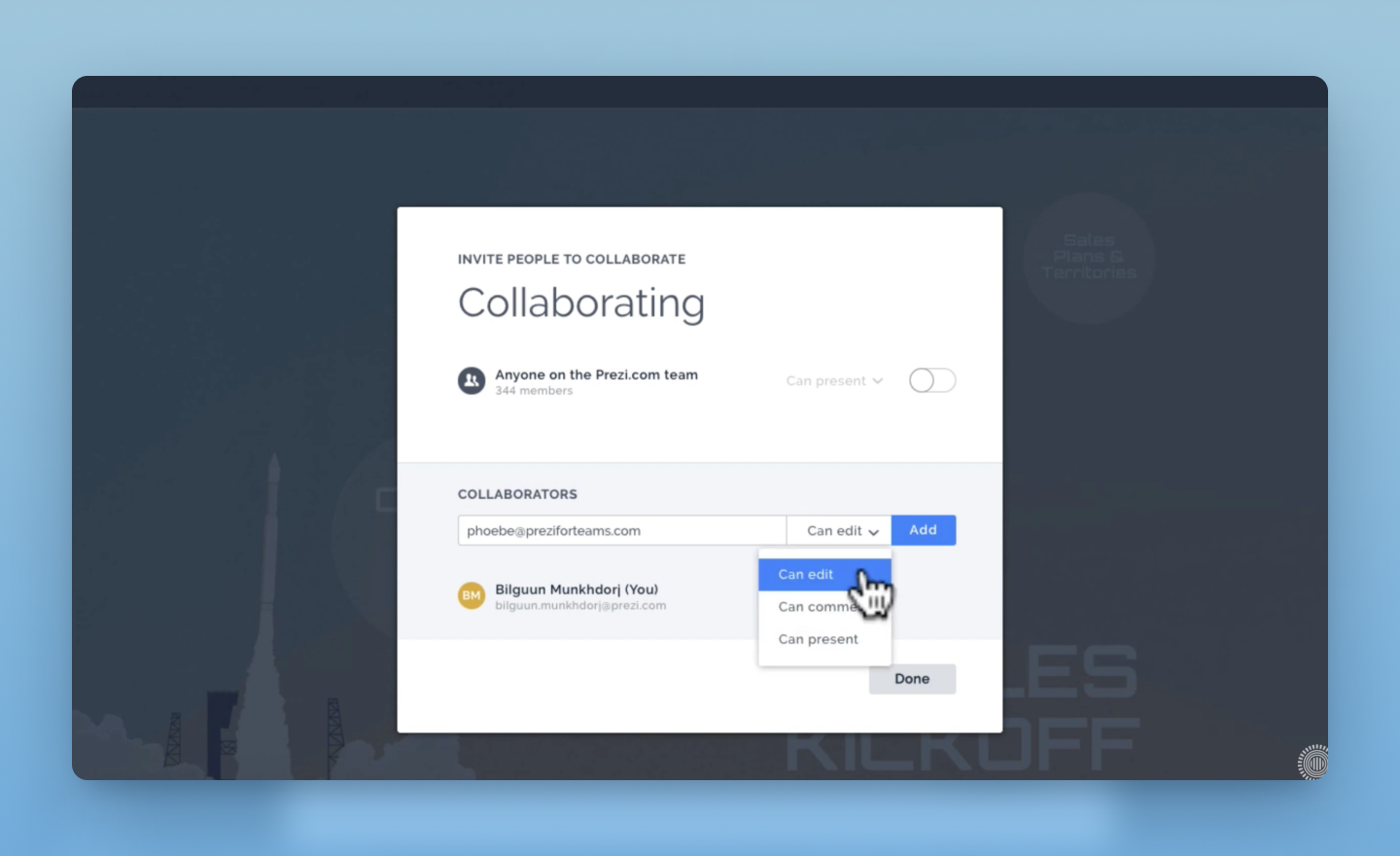 collaborate in Prezi