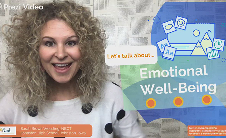 Teacher Sarah Brown Wessling addresses parents in this Prezi Video and gives them suggestions on how to monitor their children's emotional well-being.